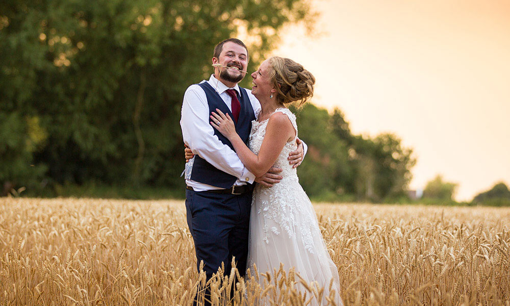 cornfield wedding portrait